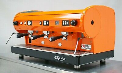Astoria Lisa 3 Grp Commercial Coffee Espresso Machine in Bright Orange - WOW