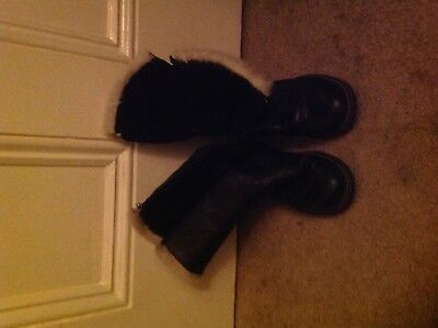 Girls John Lewis black leather boot with faux fur edging Size 34