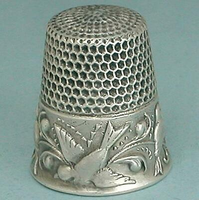 Antique Sterling Silver Birds Thimble by Waite, Thresher Co. * Circa 1890s