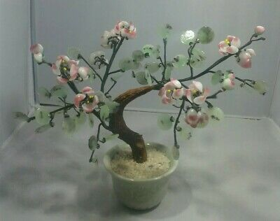 Vintage Glass & Wire Artificial Bonsai Tree  Flowers Chinese Porcelain Pot