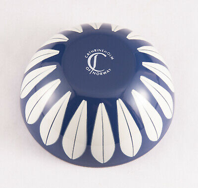 "Cathrineholm Enamel Lotus Bowl Dark Blue & White 5.5"" Norway Mid Century Modern"