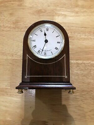 Comitti of London Quality Small Quartz Clock Mahogany solid wood case