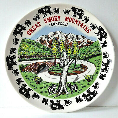 Vintage Great Smoky Mountains Tennessee Souvenir Plate Black Bears
