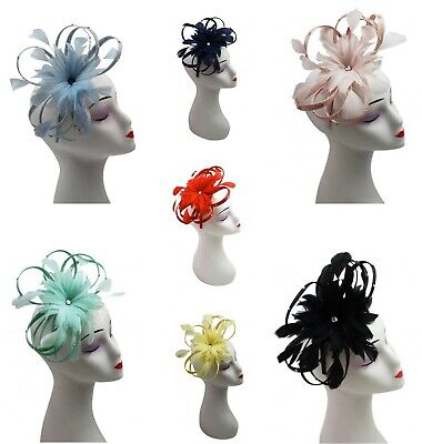 Womens Wedding Sinamay Feathers Fascinator Headband Ladies Day Races Royal Ascot