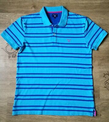 Mens GANT Striped Polo T-Shirt/Top Short Sleeve , Size M (on label L) , VGC !