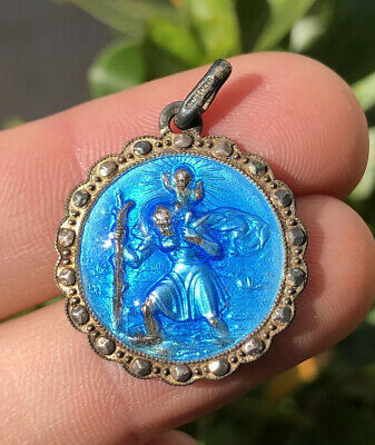 "Vintage Blue Enamel St Christopher ""In Case Of Accident Call A Priest"" Pendant"