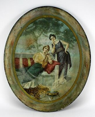 Antique Turn Of The Century Women W/ Instrument Oval Metal Tin Advertising Tray