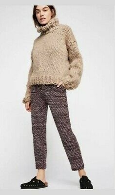 Free People OB902419 Cozy Knit Trousers Deep Red Combo Pants Size Large/$148