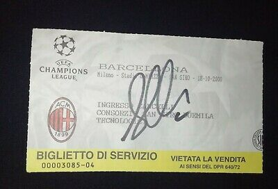 Biglietto Ac Milan Barcelona 3-3 Football Hand Signed Ticket Albertini Autografo
