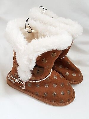 BNWT girls toddler sz 10 winter shoes boots fur lined brown beige gold spots