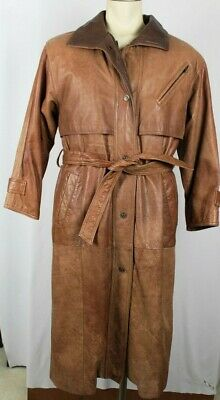 Wilsons Adventure Bound Mens Womens Lined Leather Duster Trench Western Coat XS