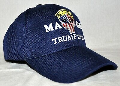 Trump 2020 Punisher Trump Hair Navy Blue Embroidered Adjustable Fit New