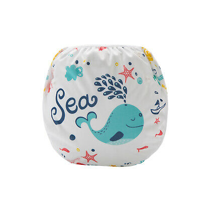 Blue Whale Swim Cloth Nappy - washable reuseable swimmer adjustable baby