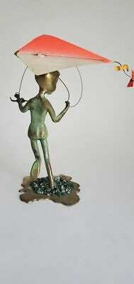 Vintage Mid Century MCM Malcolm Moran Kinetic Bronze Boy With Kite Art Sculpture