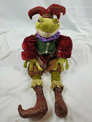 Vintage Decorative Style Display Accent Frog Jester Plush Animal