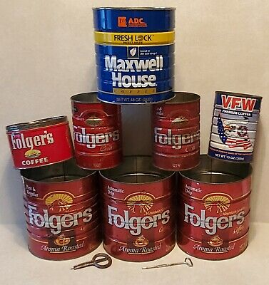 Vintage Folgers Maxwell House VFW Coffee Tin Tins Keys Metal Can Cand Lot Group