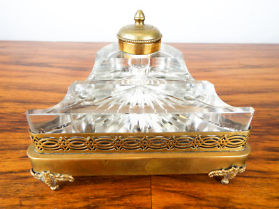 Antique Victorian French Brass Musical Inkwell Cut Crystal Pen Rest 1900 Novelty