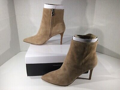 NINE WEST Womens Fhayla Beige Suede Booties Ankle Boots Shoes Sz 6.5 ZA-729