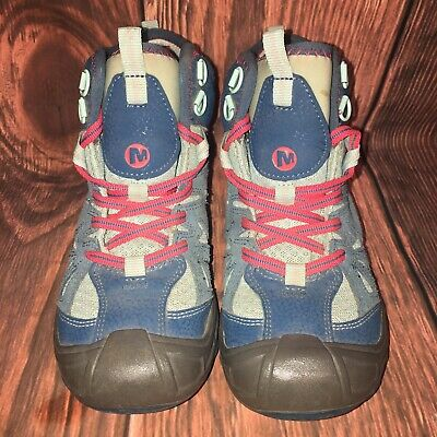 MERRELL Blue Hiking Boots Capra WTPF Mid Kids Childrens Boys Girls Youth Sz 2M