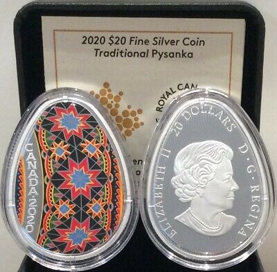 2020 Traditional Ukrainian Pysanka $20 1OZ Egg Shaped Silver Proof Coin Canada