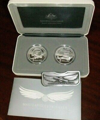 2008 Masterpieces In Silver $5 Coins Set - Flying Through Time Aviation & Bonus