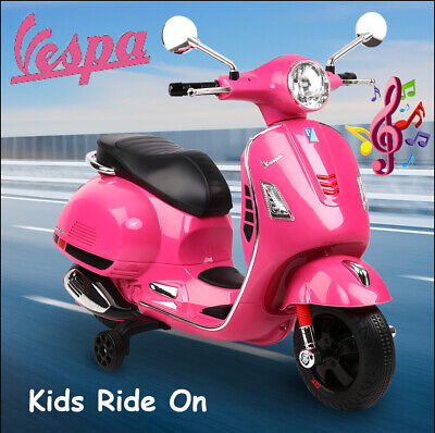 RIGO Vespa Kids Ride On Scooter 30W motor Music Battery Charger Included - Pink