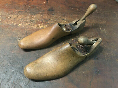 Antique Wooden (Beech) Folding Shoe Savers,Trees, Lasts, Stays. Matching pair