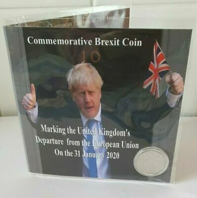 Limited Brexit Commemorative Coin Holder + Uncirculated New 2020 Brexit Coin