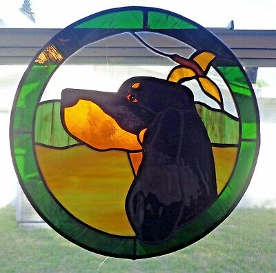 Stained Glass Dog - .Gorden Setter. - 12 In. Circle