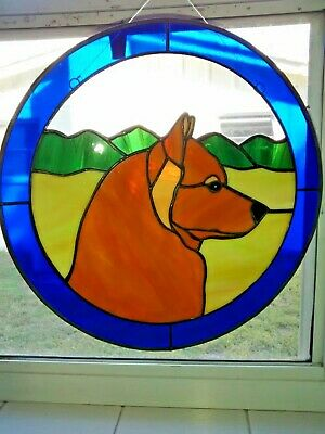 "Stained Glass Dog - Finish Spitz - 12"" Circle"