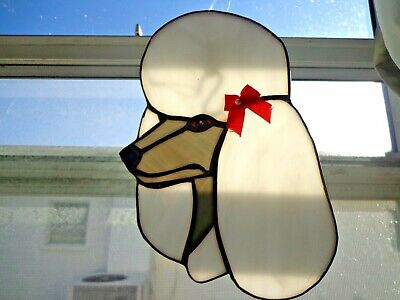 Stained Glass Dog - Poodle - White