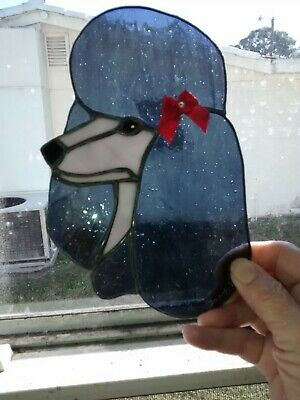 Stained Glass Dog - Poodle - Black