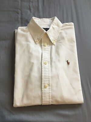 Polo Ralph Lauren Boys White Long Sleeved Cotton Shirt Size M Extra Slim Fit