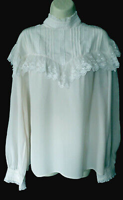 Exquisite Rare Laura Ashley Vintage Victorian Style Silk & Lace Blouse, 16, 18