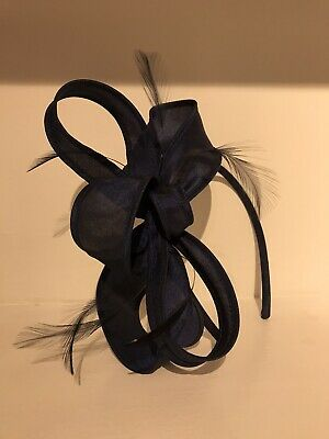 Navy Blue Feather Headband Aliceband Fascinator Ladies Day Weddings Races