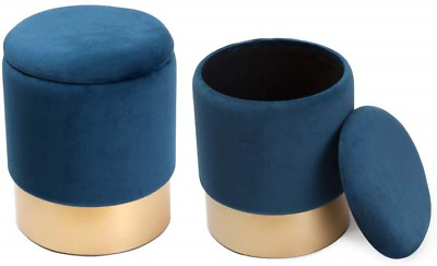Dipamkar® Set of 2 Vintage Velvet Ottoman Storage Stool Seat Foot Stool Dressing