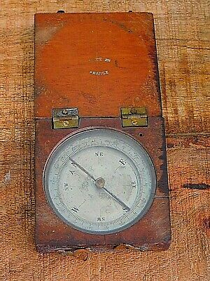 ANTIQUE MAHOGANY WOOD COMPASS FRENCH Made in France HINGED BOX MARITIME