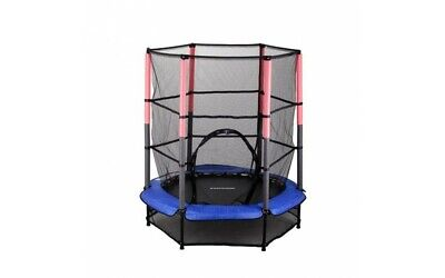 NEW Kids Childrens Blue 4.5FT Trampoline Set With Safety Net Enclosure