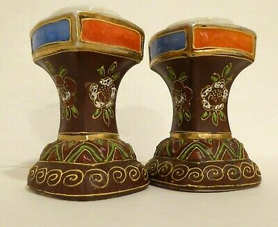 Antique Moriage Porcelain Candle Holders VTG Floral Motif w/ gold Candlesticks