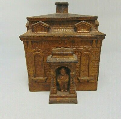 Judd Antique Cast Iron Home Bank - Man in Portico