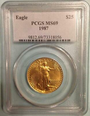 1987 $25 Gold Eagle Pcgs Ms69 * Pop Of Ms70 Only 48 Coins Roman Numerals
