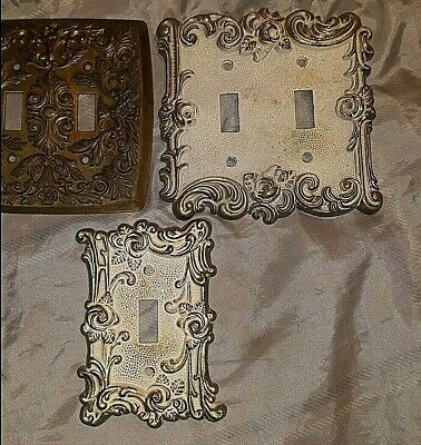 Antique Lot of 3 Brass Wall Light Switch Plates. American Tack&Howe Co. 1967 6OT