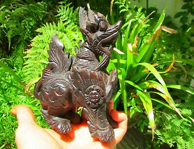 Antique Asian Chinese Japanese Hand Carved Wood Lion Foo Dog Figure Statue