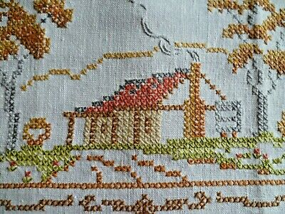 Vintage Hand Embroidered Semco  Home Sweet Home  Large Doiley Cream Braid Edge