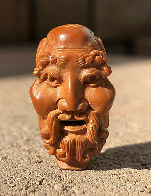 ANTIQUE OLD CHINESE CARVED HEDIAO NUT WOOD IMMORTALS GOD MAN's FACE BEADS