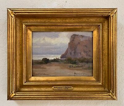 "Benjamin Chambers Brown Coastal Oil Painting 6""x 8"" Gold Leaf Frame w Free Book"