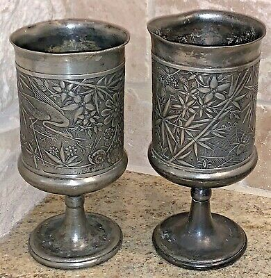 """Antique Pewter Goblets Pairpoint Quadruple Plate 1620 Stamp 6"""" Tall Vintage Cup"""