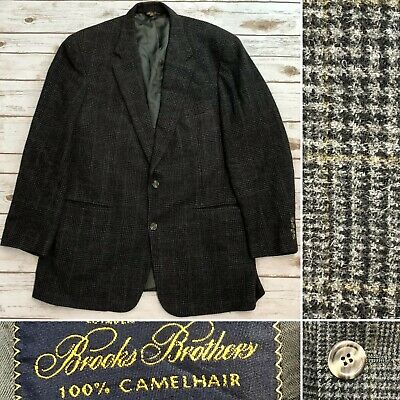 Brooks Brothers Men's 44L Gray Camelhair Windowpane Plaid Vintage Blazer Jacket