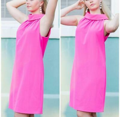 Sail to Sable Button Back Cowl Neck Hot Pink Dress Size Medium Retail - $229.00