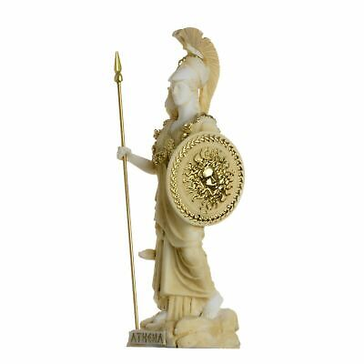 Athena With Owl Medusa Shield Greek Goddess Alabaster Statue Gold 6.69""